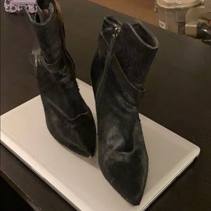 Tabitha Simmons black calf hair/leather booties